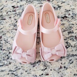 Mini Melissa pink bow shoes sz 8